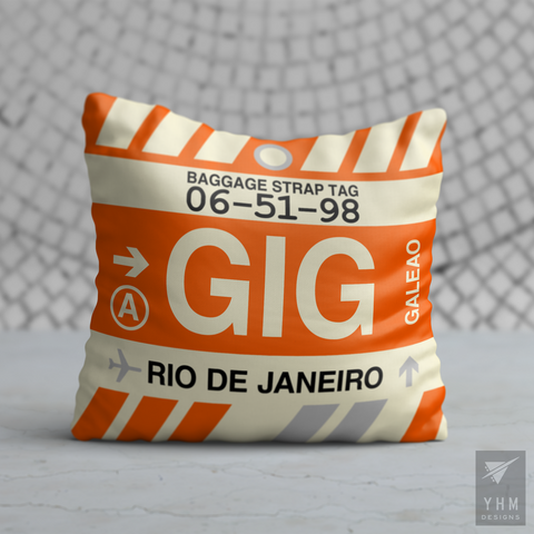 YHM Designs - GIG Rio de Janeiro Airport Code Throw Pillow - Housewarming Gift, Birthday Gift, Teacher Gift, Thank You Gift