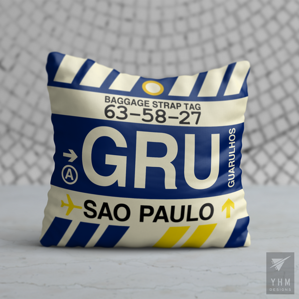 YHM Designs - GRU Sao Paulo Airport Code Throw Pillow - Housewarming Gift, Birthday Gift, Teacher Gift, Thank You Gift