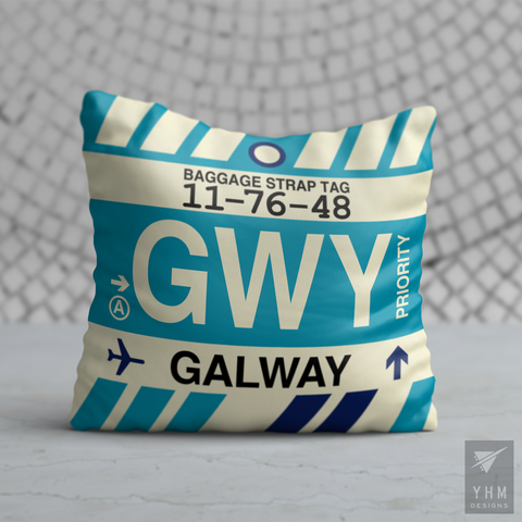 YHM Designs - GWY Galway Airport Code Throw Pillow - Housewarming Gift, Birthday Gift, Teacher Gift, Thank You Gift
