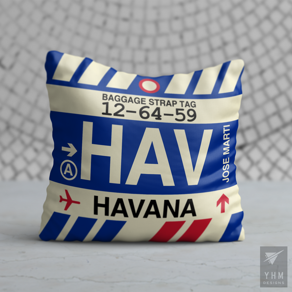 YHM Designs - HAV Havana Airport Code Throw Pillow - Housewarming Gift, Birthday Gift, Teacher Gift, Thank You Gift