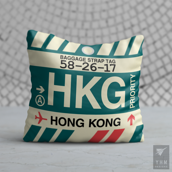 YHM Designs - HKG Hong Kong Airport Code Throw Pillow - Housewarming Gift, Birthday Gift, Teacher Gift, Thank You Gift