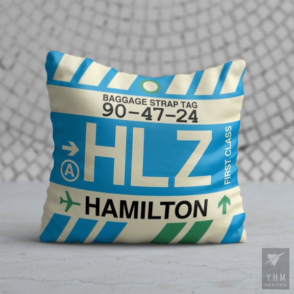 YHM Designs - HLZ Hamilton Airport Code Throw Pillow - Housewarming Gift, Birthday Gift, Teacher Gift, Thank You Gift