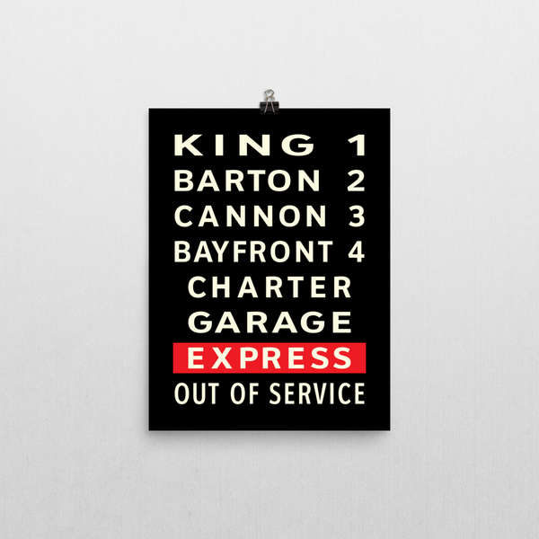 "YHM Designs - Hamilton Bus Roll Poster 12""x16"" 1"