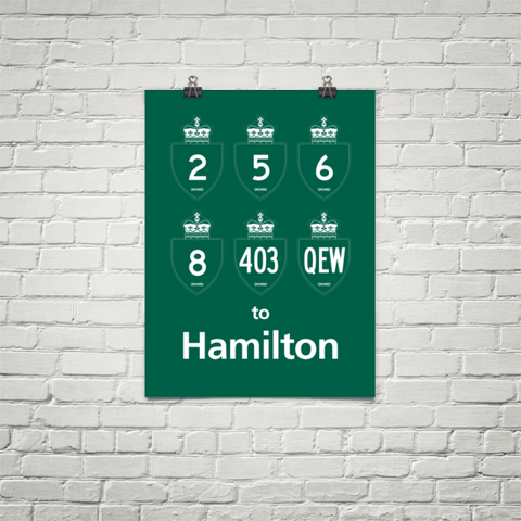 "YHM Designs - Hamilton Highways Poster 18""x24"" 1"