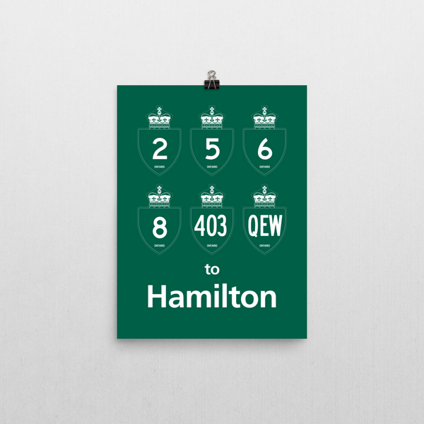 "YHM Designs - Hamilton Highways Poster 12""x16"" 1"