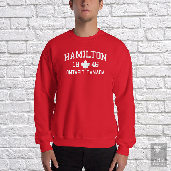 YHM Designs - Hamilton 1846 Maple Leaf Sweatshirt - Red - Hamilton Ontario Canada Gift - Christmas Birthday - 1