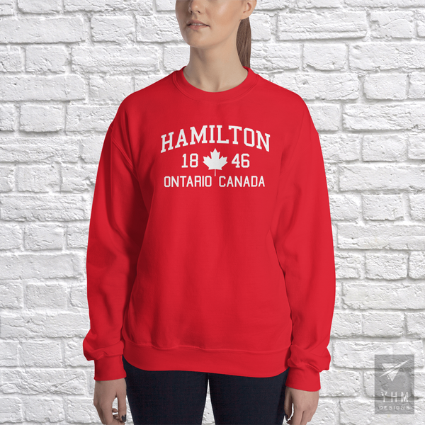 YHM Designs - Hamilton 1846 Maple Leaf Sweatshirt - Red - Hamilton Ontario Canada Gift - Christmas Birthday - 2