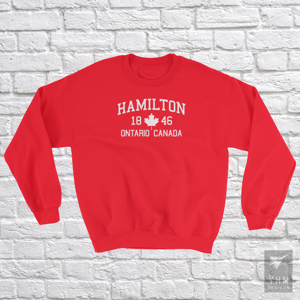 YHM Designs - Hamilton 1846 Maple Leaf Sweatshirt - Red - Hamilton Ontario Canada Gift - Christmas Birthday - 3