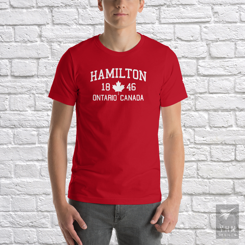 YHM Designs - Hamilton 1846 Maple Leaf T-Shirt - Red - Hamilton Ontario Canada Gift - Christmas Birthday - 1