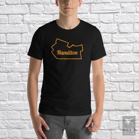 YHM Designs - Hamilton Map Outline T-Shirt - Hamilton Ontario Canada Gift - Christmas Birthday - 1