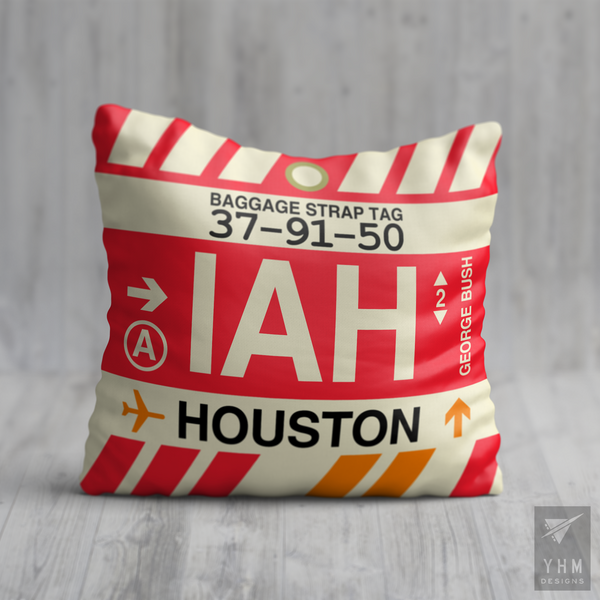 YHM Designs - IAH Houston Airport Code Throw Pillow - Housewarming Gift, Birthday Gift, Teacher Gift, Thank You Gift