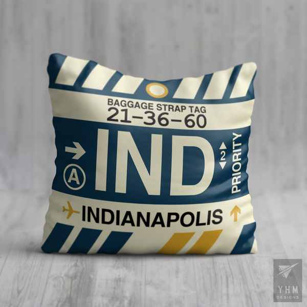 YHM Designs - IND Indianapolis Airport Code Throw Pillow - Housewarming Gift, Birthday Gift, Teacher Gift, Thank You Gift