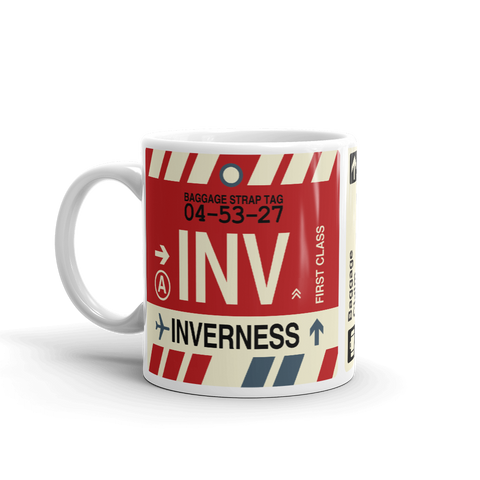 INV Inverness Coffee Mug • Airport Code & Vintage Baggage Tag Design