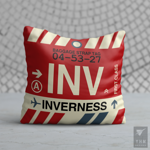 YHM Designs - INV Inverness Airport Code Throw Pillow - Housewarming Gift, Birthday Gift, Teacher Gift, Thank You Gift