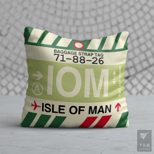 YHM Designs - IOM Isle of Man Airport Code Throw Pillow - Housewarming Gift, Birthday Gift, Teacher Gift, Thank You Gift