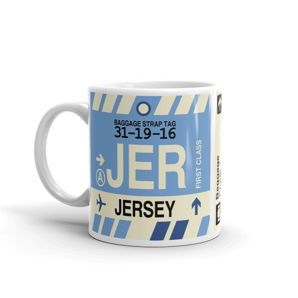 YHM Designs - JER Jersey Airport Code Coffee Mug - Travel Theme Drinkware and Gift Ideas - Left