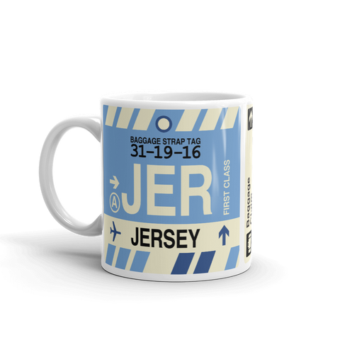 JER Jersey Coffee Mug • Airport Code & Vintage Baggage Tag Design