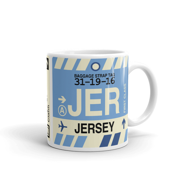 YHM Designs - JER Jersey Airport Code Coffee Mug - Travel Theme Drinkware and Gift Ideas - Right
