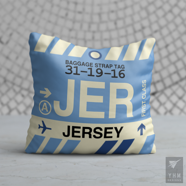 YHM Designs - JER Jersey Airport Code Throw Pillow - Housewarming Gift, Birthday Gift, Teacher Gift, Thank You Gift
