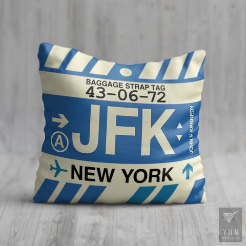 YHM Designs - JFK New York Airport Code Throw Pillow - Housewarming Gift, Birthday Gift, Teacher Gift, Thank You Gift