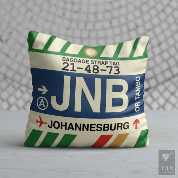 YHM Designs - JNB Johannesburg Airport Code Throw Pillow - Housewarming Gift, Birthday Gift, Teacher Gift, Thank You Gift