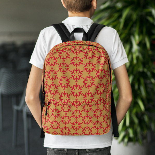 "YHM Designs  •  Jetliner Hexagon Pattern 15.6"" Laptop Backpack • Red and Gold 8"