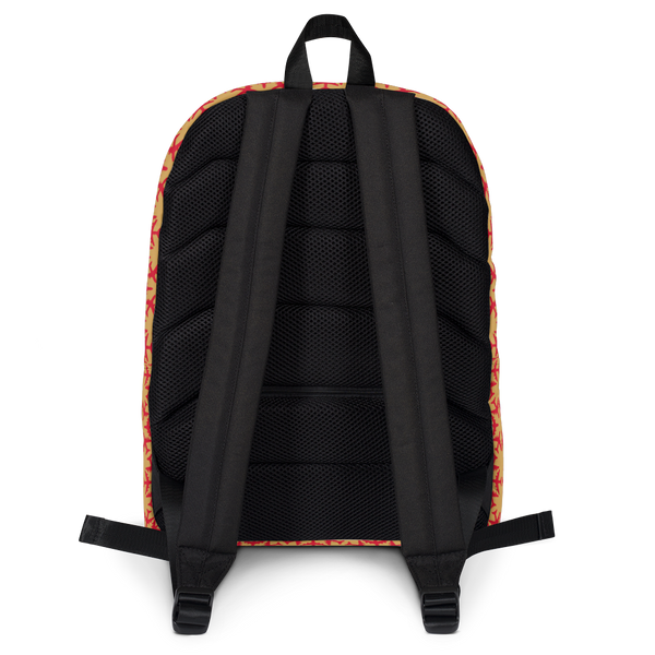 "YHM Designs  •  Jetliner Hexagon Pattern 15.6"" Laptop Backpack • Red and Gold 4"