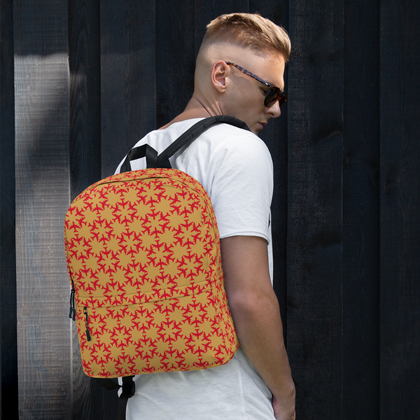 "YHM Designs  •  Jetliner Hexagon Pattern 15.6"" Laptop Backpack • Red and Gold 15"