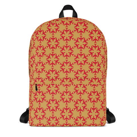 "YHM Designs  •  Jetliner Hexagon Pattern 15.6"" Laptop Backpack • Red and Gold 1"