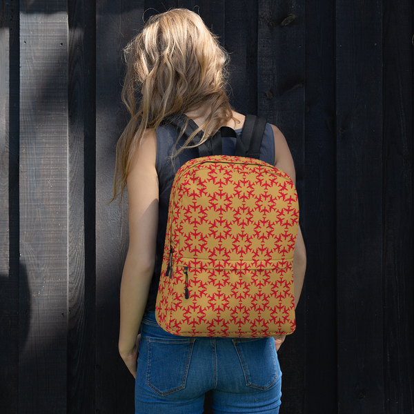 "YHM Designs  •  Jetliner Hexagon Pattern 15.6"" Laptop Backpack • Red and Gold 11"
