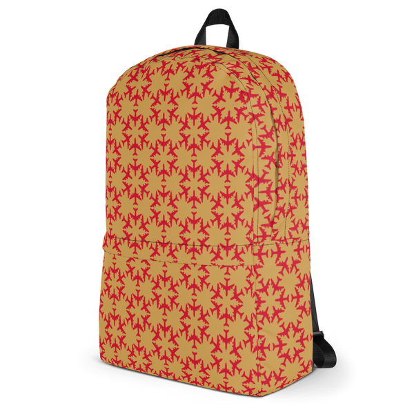 "YHM Designs  •  Jetliner Hexagon Pattern 15.6"" Laptop Backpack • Red and Gold 3"