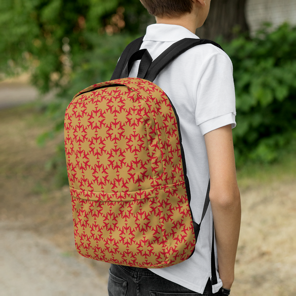 "YHM Designs  •  Jetliner Hexagon Pattern 15.6"" Laptop Backpack • Red and Gold 10"