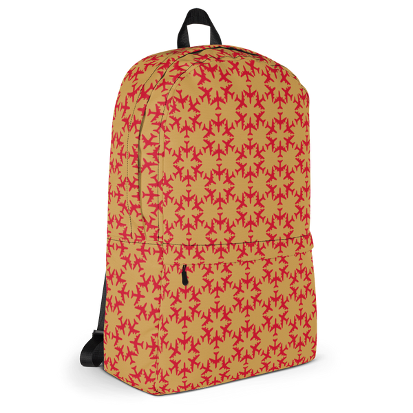 "YHM Designs  •  Jetliner Hexagon Pattern 15.6"" Laptop Backpack • Red and Gold 2"
