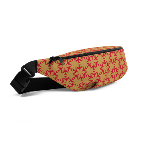YHM Designs  •  Jetliner Hexagon Pattern Fanny Pack • Red and Gold 1