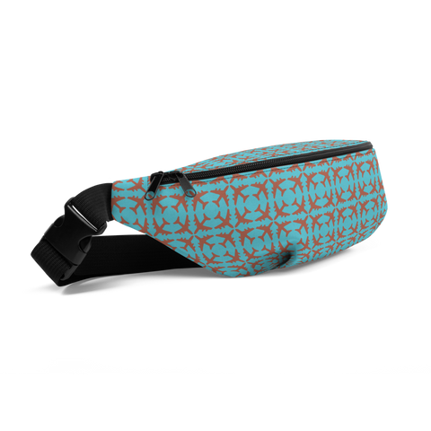 YHM Designs  •  Jetliner Pattern Fanny Pack • Copper and Blue 1