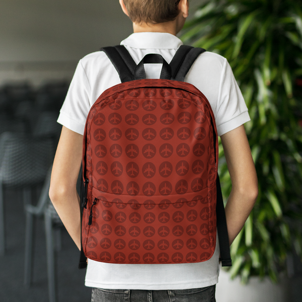"YHM Designs  •  Jetliner Roundel Design 15.6"" Laptop Backpack • Oxblood Red 8"