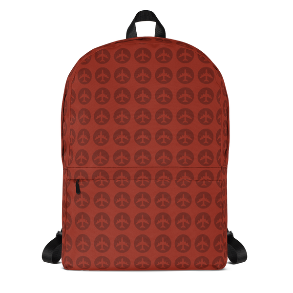 "YHM Designs  •  Jetliner Roundel Design 15.6"" Laptop Backpack • Oxblood Red 1"