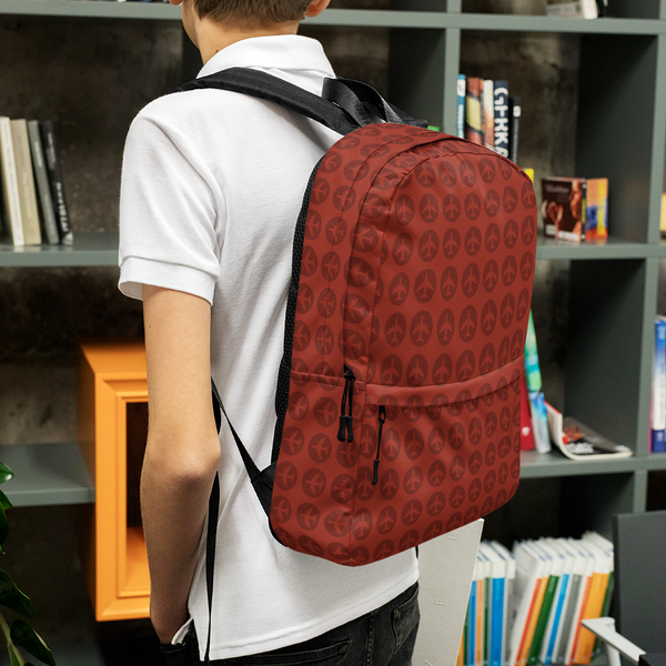 "YHM Designs  •  Jetliner Roundel Design 15.6"" Laptop Backpack • Oxblood Red 9"