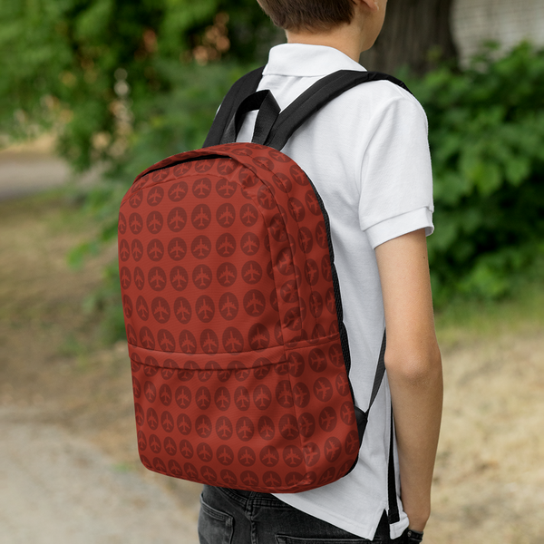 "YHM Designs  •  Jetliner Roundel Design 15.6"" Laptop Backpack • Oxblood Red 10"