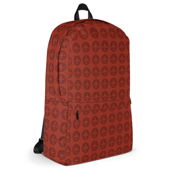 "YHM Designs  •  Jetliner Roundel Design 15.6"" Laptop Backpack • Oxblood Red 2"