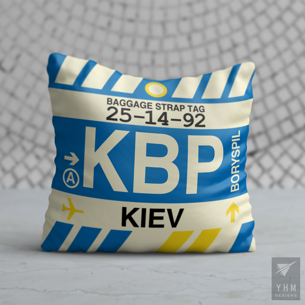 YHM Designs - KBP Kiev Airport Code Throw Pillow - Housewarming Gift, Birthday Gift, Teacher Gift, Thank You Gift