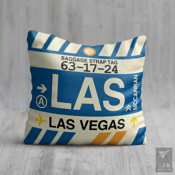 YHM Designs - LAS Las Vegas Airport Code Throw Pillow - Housewarming Gift, Birthday Gift, Teacher Gift, Thank You Gift