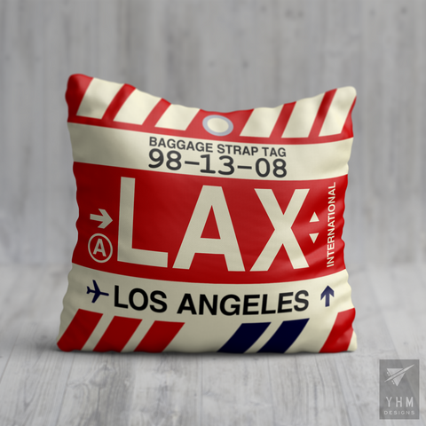 YHM Designs - LAX Los Angeles Airport Code Throw Pillow - Housewarming Gift, Birthday Gift, Teacher Gift, Thank You Gift