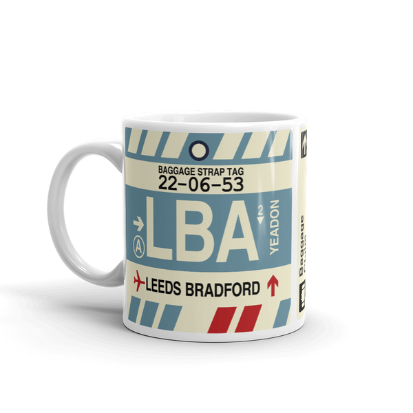 YHM Designs - LBA Leeds Bradford Airport Code Coffee Mug - Birthday Gift, Christmas Gift - Left