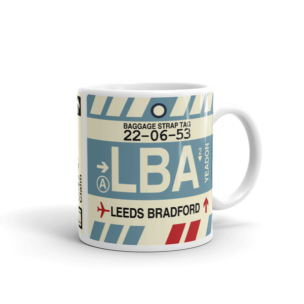 YHM Designs - LBA Leeds Bradford Airport Code Coffee Mug - Teacher Gift, Airbnb Decor - Side