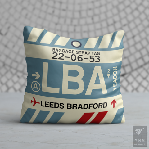 YHM Designs - LBA Leeds Bradford Airport Code Throw Pillow - Housewarming Gift, Birthday Gift, Teacher Gift, Thank You Gift