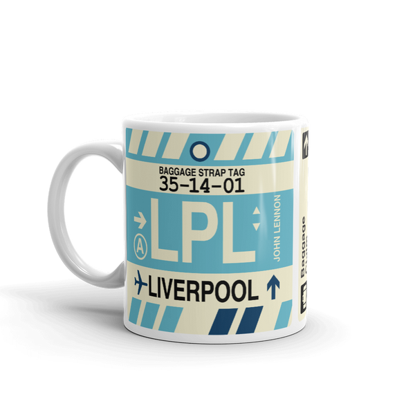 YHM Designs - LPL Liverpool Airport Code Coffee Mug - Birthday Gift, Christmas Gift - Left