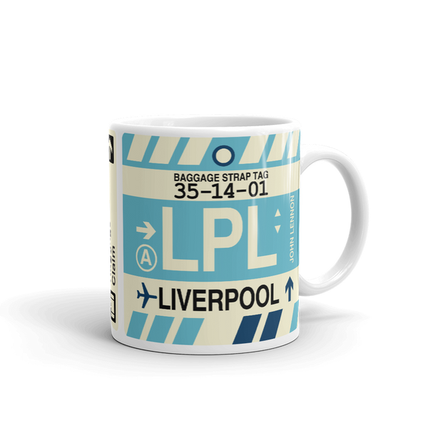 YHM Designs - LPL Liverpool Airport Code Coffee Mug - Graduation Gift, Housewarming Gift - Right