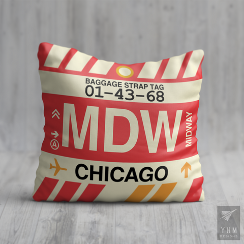 YHM Designs - MDW Chicago Airport Code Throw Pillow - Housewarming Gift, Birthday Gift, Teacher Gift, Thank You Gift