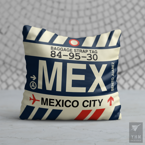 YHM Designs - MEX Mexico City Airport Code Throw Pillow - Housewarming Gift, Birthday Gift, Teacher Gift, Thank You Gift